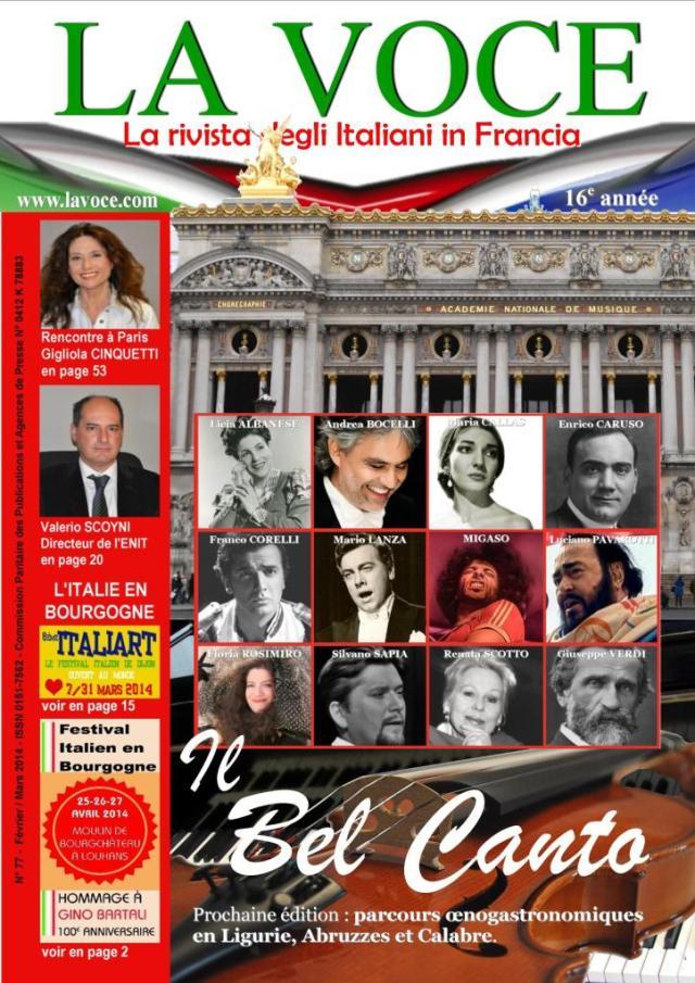Couverture dossier Bel Canto - La Voce - N°77 février-mars 2014