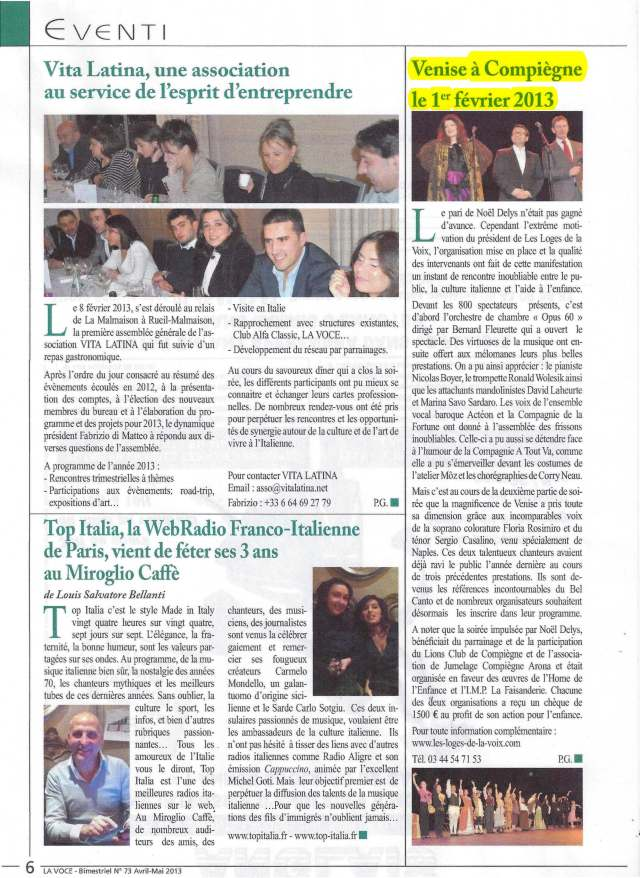 La Voce - N°73- Avril / Mai 2013