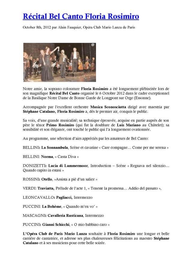 Opéra Club Mario Lanza - 8 octobre 2012